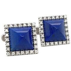 14kt White Gold Diamond 0.96ct & Sugar Loaf Lapis Lazuli Cuff Links