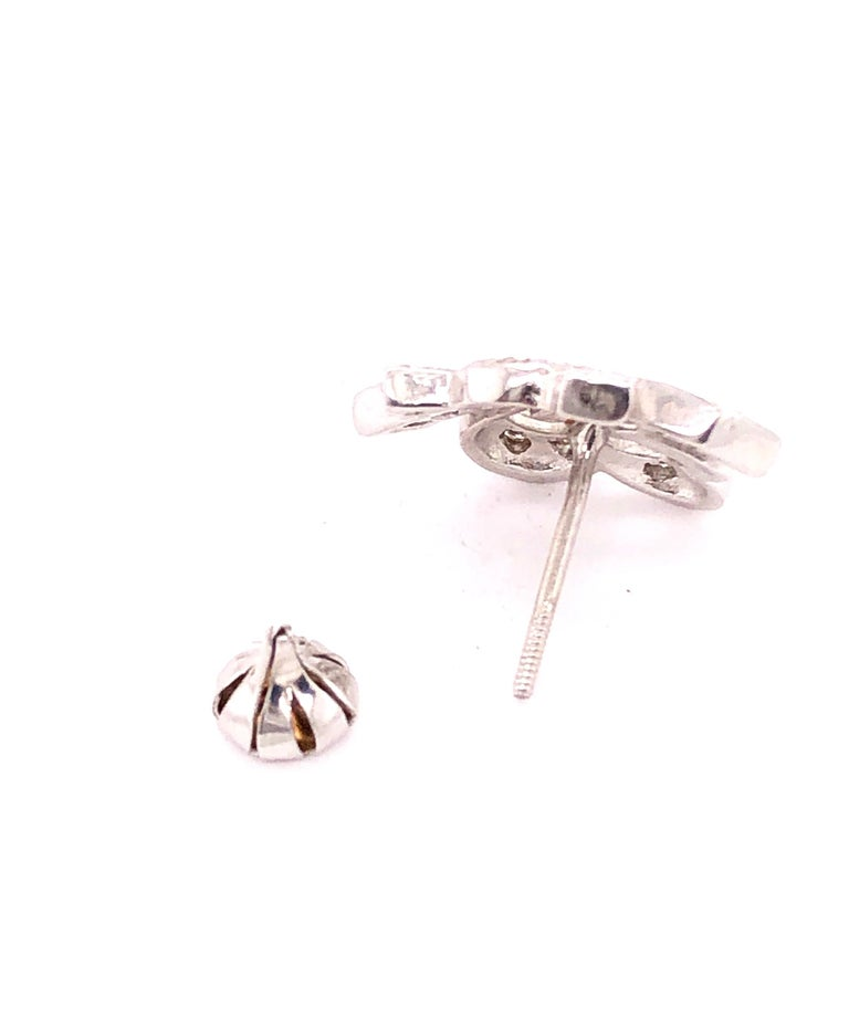 14 Karat White Gold Diamond Post Earrings Art Deco Style Screw Back For Sale 5