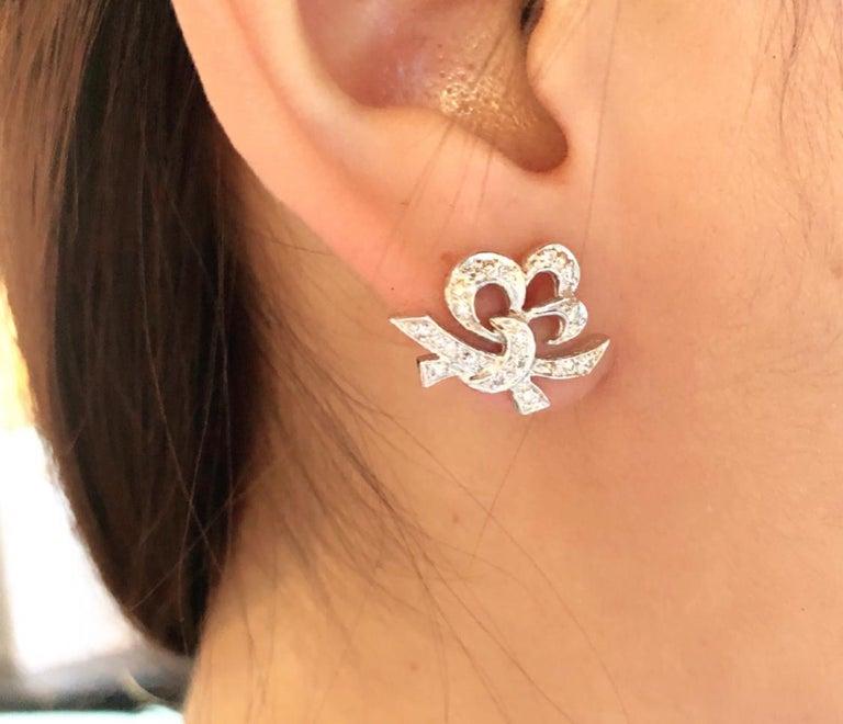 14 Karat White Gold Diamond Post Earrings Art Deco Style Screw Back For Sale 6