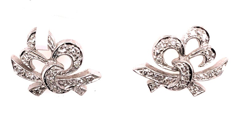 14Kt White Gold Diamond Post Earrings Art Deco Style Screw Back. 3.66 grams .50 total weight 50 diamonds.