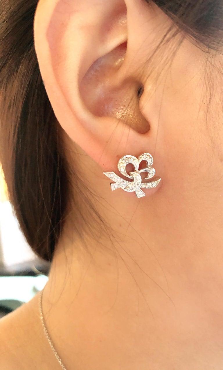 Round Cut 14 Karat White Gold Diamond Post Earrings Art Deco Style Screw Back For Sale