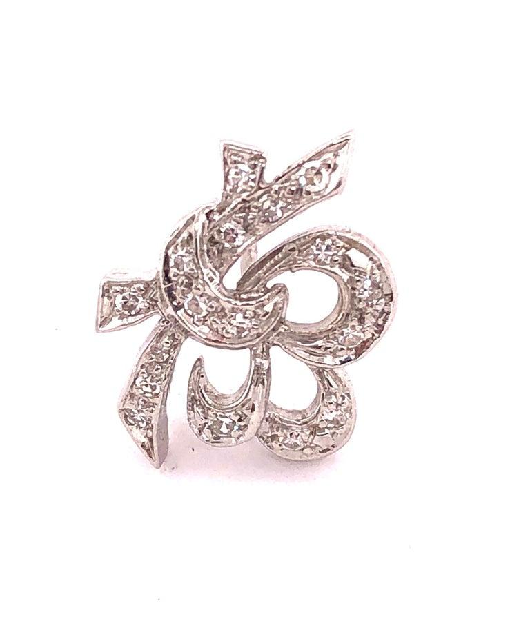 Women's or Men's 14 Karat White Gold Diamond Post Earrings Art Deco Style Screw Back For Sale