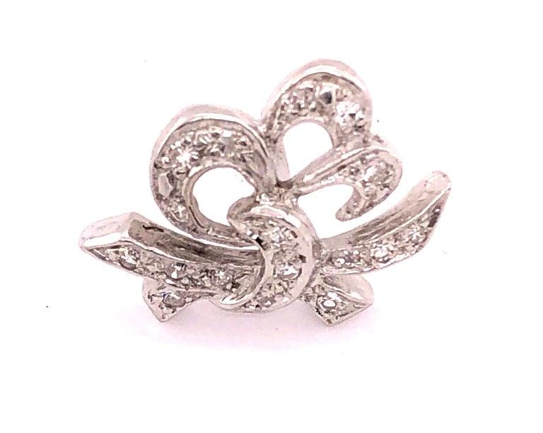 14 Karat White Gold Diamond Post Earrings Art Deco Style Screw Back For Sale 1