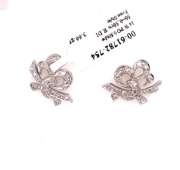 14 Karat White Gold Diamond Post Earrings Art Deco Style Screw Back For Sale 2