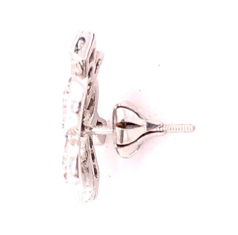 14 Karat White Gold Diamond Post Earrings Art Deco Style Screw Back For Sale 3
