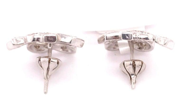 14 Karat White Gold Diamond Post Earrings Art Deco Style Screw Back For Sale 4