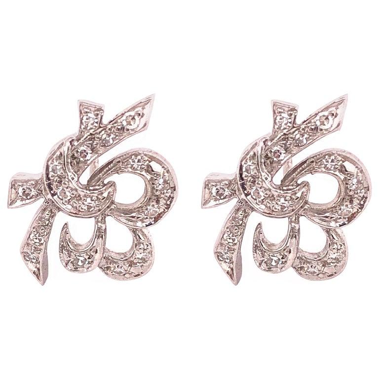 14 Karat White Gold Diamond Post Earrings Art Deco Style Screw Back For Sale