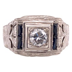 14 Karat White Gold Fashion Ring with Round Diamond and Sapphires