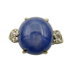 14kt White Gold Fine 12.28ct Cabochon Round Blue Star Sapphire and Diamond Ring