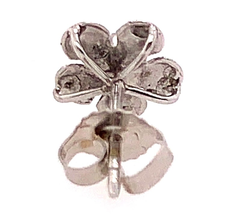 14 Karat White Gold Flower Stud Earrings with Round Diamond For Sale 2