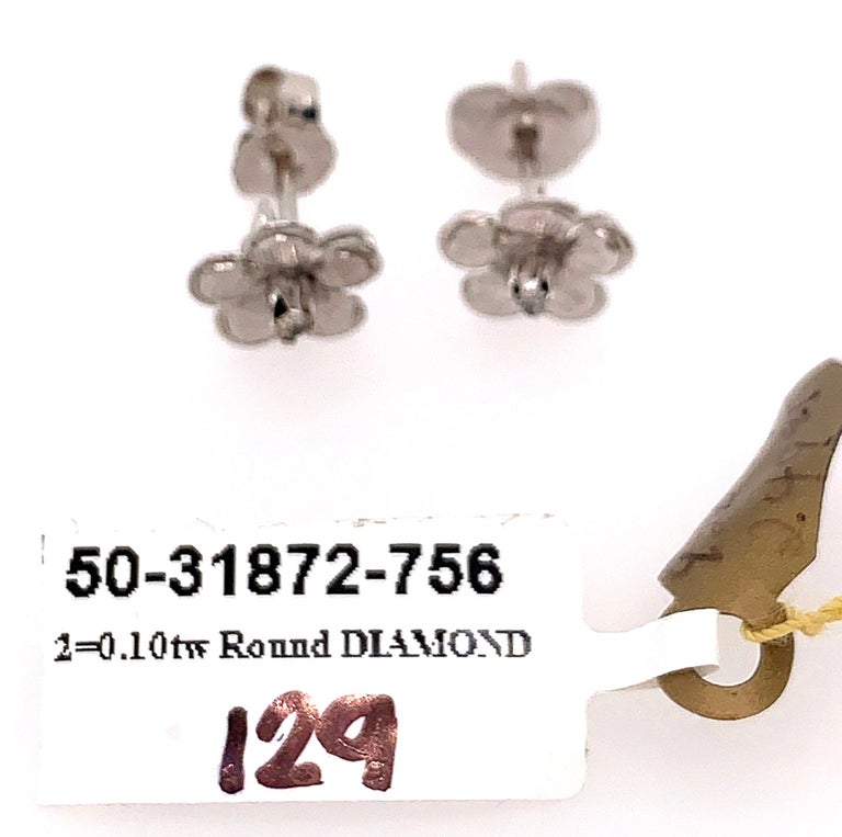 14 Karat White Gold Flower Stud Earrings with Round Diamond For Sale 4