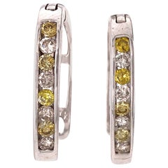 14 Karat White Gold Latch Back Earrings with White and Yellow Diamonds