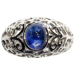 14 Karat White Gold Ring with Sapphire Cabochon