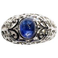 Kary Adam Designed, Blue Sapphire Ring set in 14kt White Gold