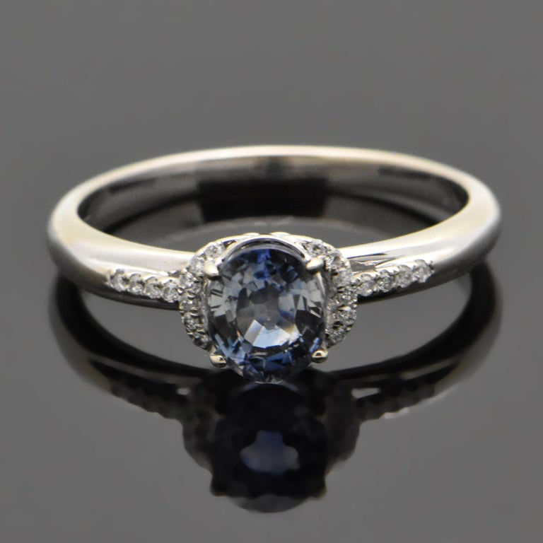 Contemporary 14 Karat White Gold Sapphire and Diamond Ring For Sale