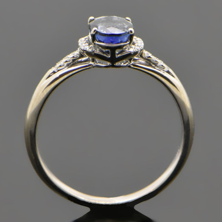 14 Karat White Gold Sapphire and Diamond Ring In New Condition For Sale In Los Angeles, CA