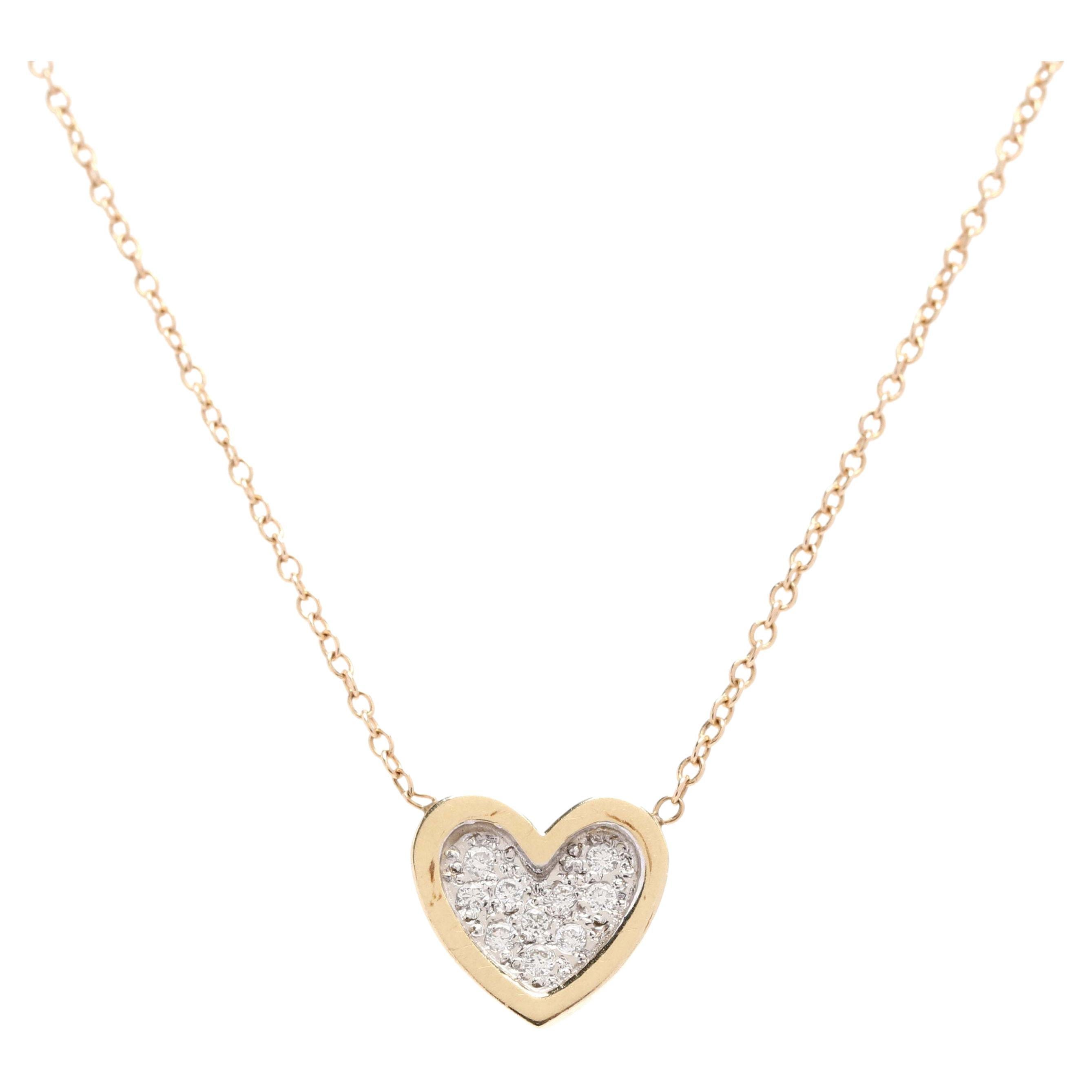 14Kt Yellow and White Gold Diamond Heart Pendant Necklace