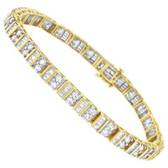 14kt Yellow Gold 4.0 Cttw Baguette & Round Brilliant-Cut Diamond Tennis Bracelet