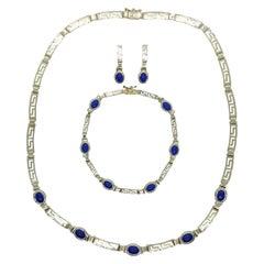 14kt Yellow Gold Blue Lapis Greek Key Design Trio, Earrings, Bracelet, Necklace