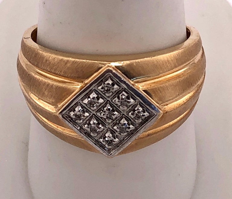 14Kt Yellow Gold Contemporary Ring with Diamonds Size 9.5 5.40 grams total weight.