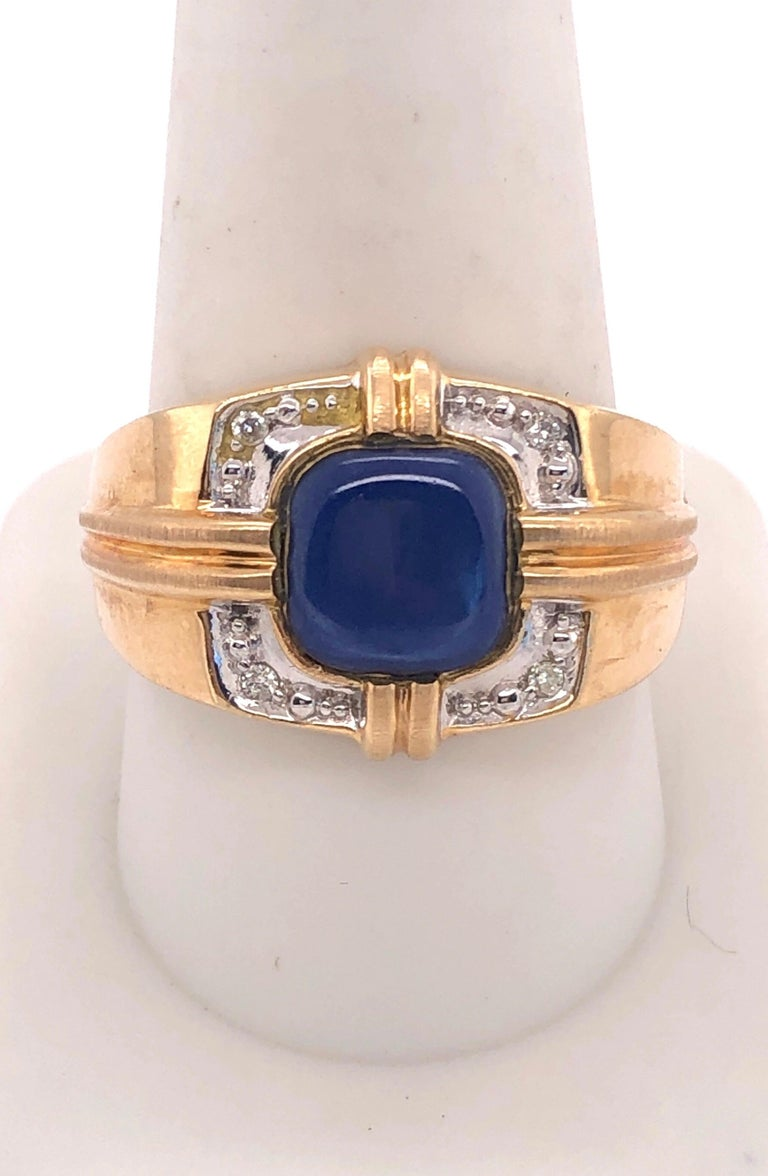 14Kt yellow Gold Contemporary Ring with Diamonds Size 10.25 with 6 grams total weight
