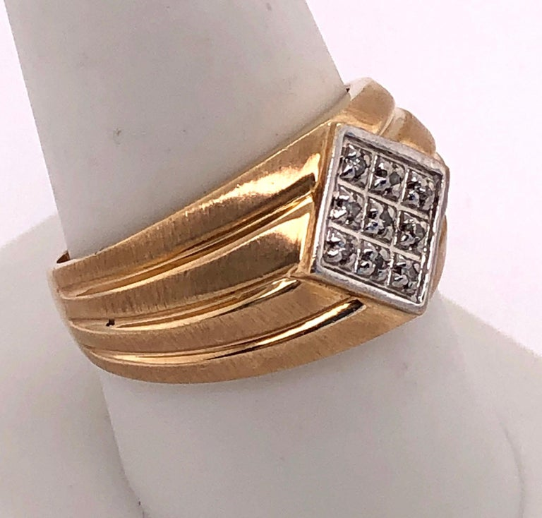 14 Karat Yellow Gold Contemporary Ring with Diamonds In Good Condition For Sale In Stamford, CT