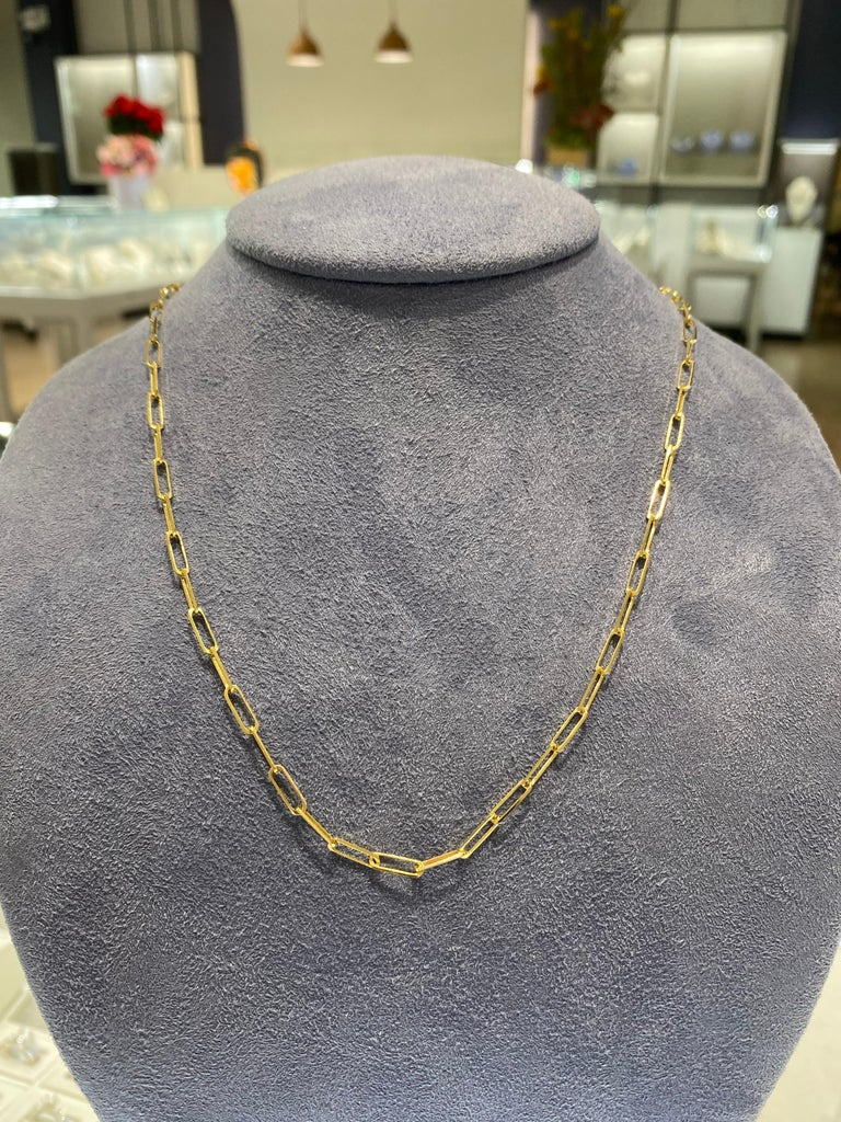 14 Karat Yellow Gold Dainty Chain Necklace For Sale 1