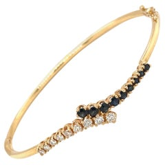 14kt Yellow Gold Diamond .50ct & Blue Sapphire .85ct Bangle Bracelet