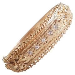 14kt Yellow Gold Diamond Bangle Bracelet, Standard Size, Satin/Polish Finish