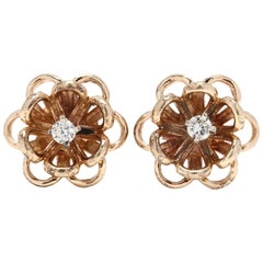 14 Karat Yellow Gold Diamond Flower Stud Earrings