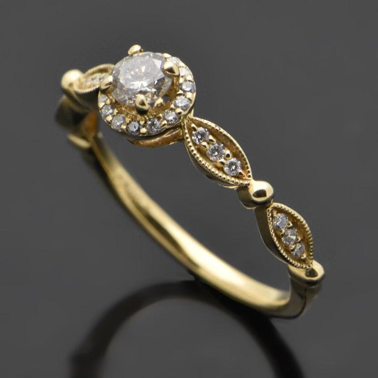 Women's 14 Karat Yellow Gold Diamonds Ring For Sale