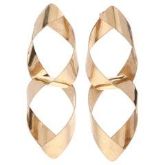 14 Karat Yellow Gold Double Pear Shape Ribbon Dangle Earrings
