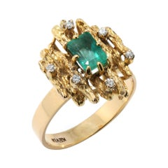 14kt Yellow Gold Emerald and Diamond Ring by Kevin
