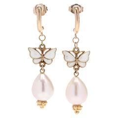 14 Karat Yellow Gold Enamel Butterfly and Pearl Dangle Earrings