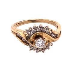 14 Karat Yellow Gold Engagement Ring 0.55 Total Diamond Weight