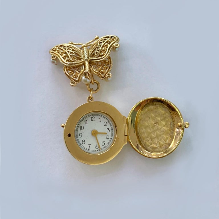 14 Karat Yellow Gold Hand Painted Portrait Miniature Brooch with Hidden Watch In Good Condition In Los Angeles, CA