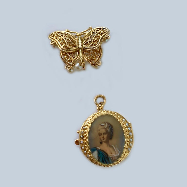 14 Karat Yellow Gold Hand Painted Portrait Miniature Brooch with Hidden Watch 2