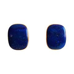 14kt Yellow Gold Lapis Lazuli Earrings, Beautiful Condition
