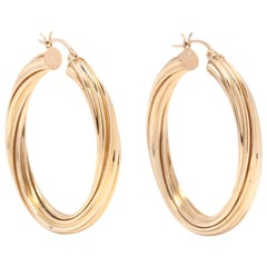 14 Karat Yellow Gold Large Twist Hoop Earrings