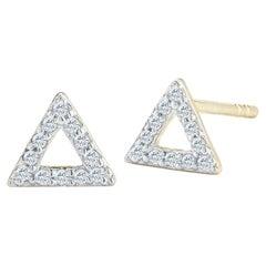 14kt Yellow Gold Mini Diamond Triangle Stud