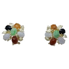 14kt Yellow Gold Multi-Colored Jade Earrings Friction Posts with Omega Backings