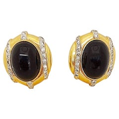 14 Karat Yellow Gold, Onyx and 0.55 Carat Diamond Earrings