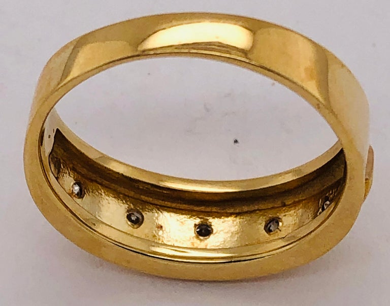 14 Karat Yellow Gold Ring Wedding Band with Five Diamonds .35 Carat For Sale 5