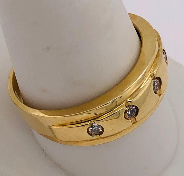 14 Karat Yellow Gold Ring Wedding Band with Five Diamonds .35 Carat For Sale 2
