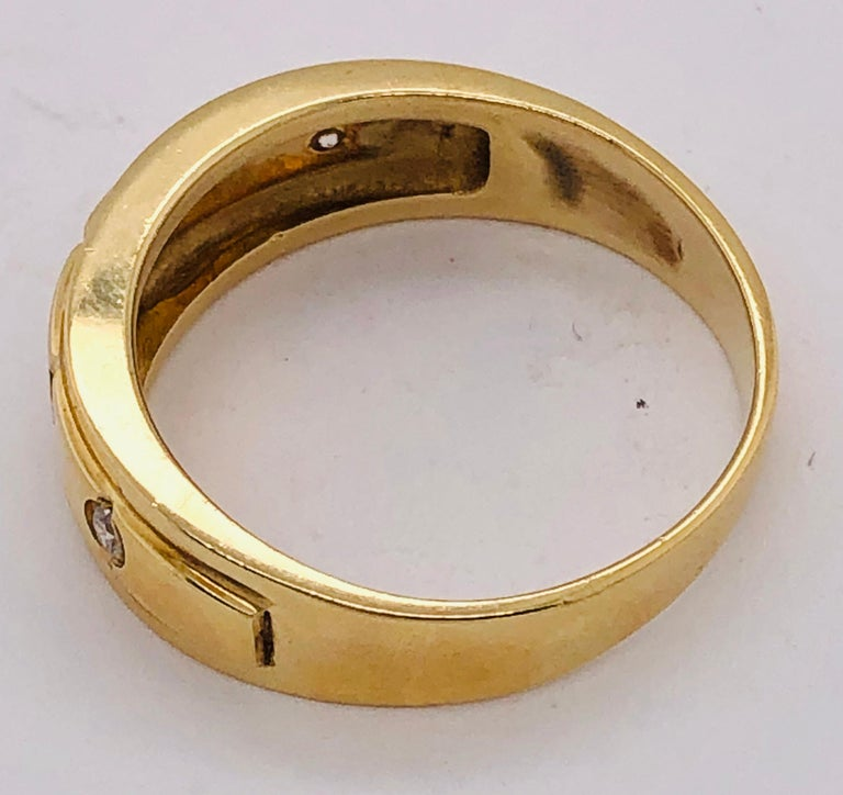 14 Karat Yellow Gold Ring Wedding Band with Five Diamonds .35 Carat For Sale 3