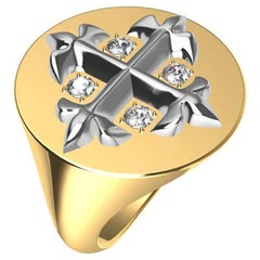 14ky and 14 Karat White Diamond West 46 Diamond Cross Signet Ring