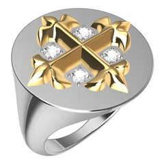 14 Karat  Yellow and 14 Karat White West 46 Diamond Cross Signet Ring