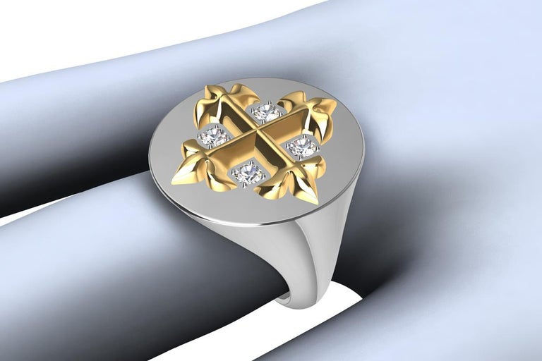 14ky and 14 Karat  White Gold diamond  West 46 Cross Signet  Ring,  This cross inspired me from a stain glass window. Polished 14ky cross and 14kw shank with four diamonds. Men