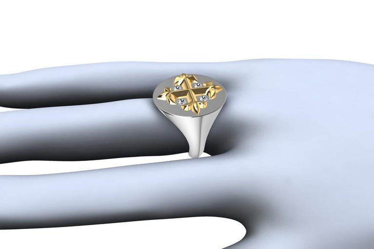 Contemporary 14 Karat  Yellow and 14 Karat White West 46 Diamond Cross Signet Ring For Sale