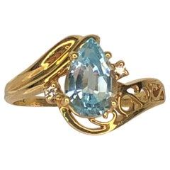 14KY Blue Topaz Diamond Ring